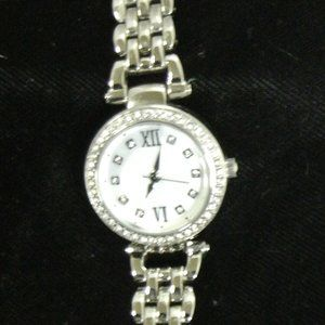 Ladies Watch with Rhinestone Outlined Face